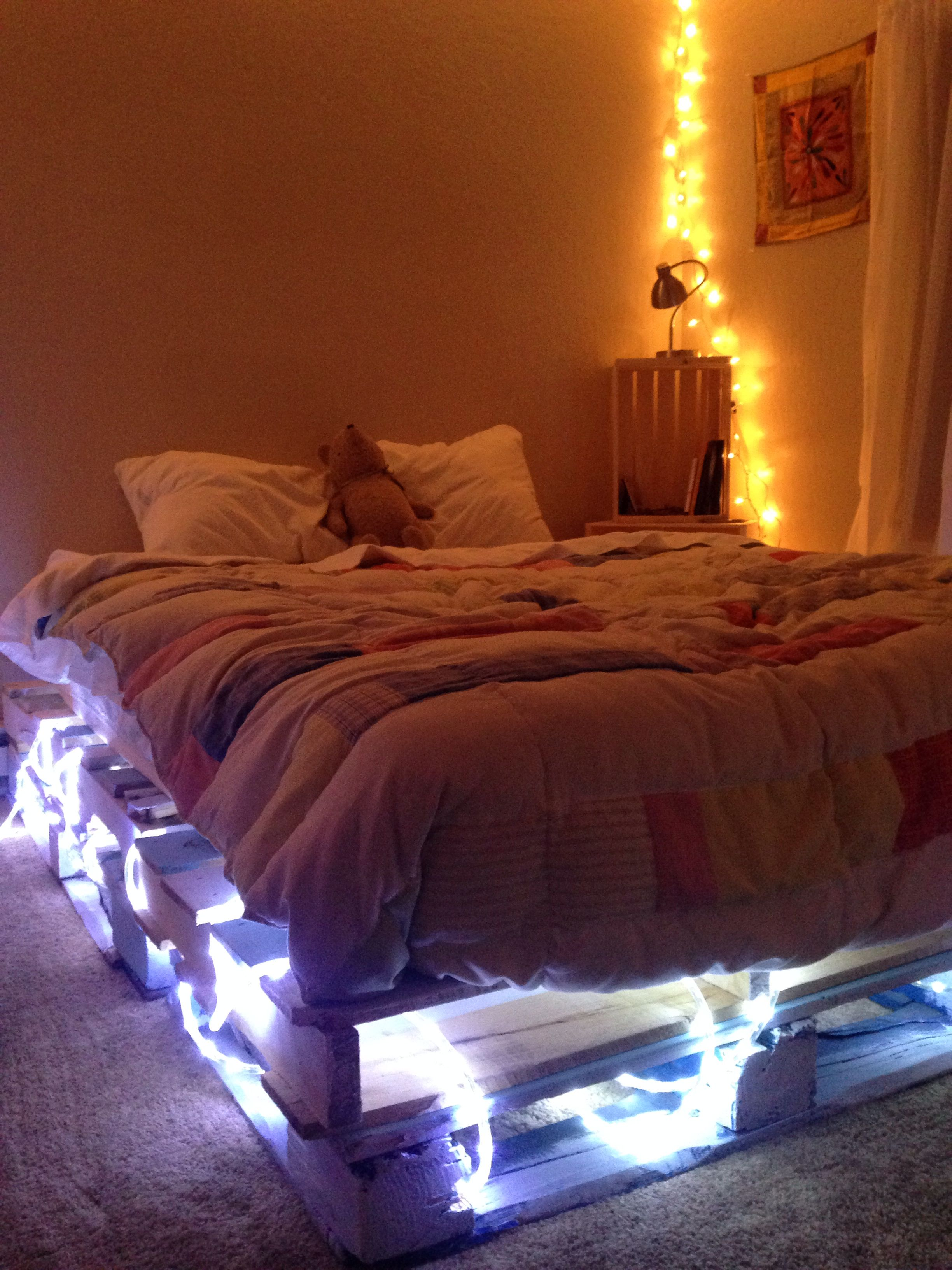 Double Stacked Pallet Bed With Clear Led Lights Wrapped Around And