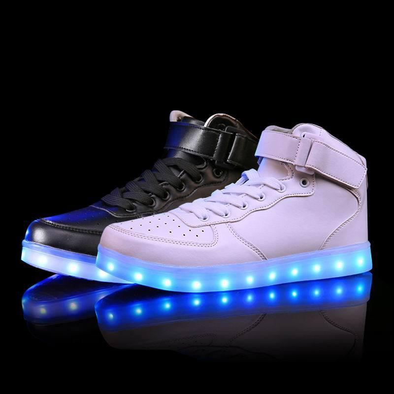 Men Women Boys' Girl' LED Light Shoes USB Charger Lace UP Casual Sports Sneakers