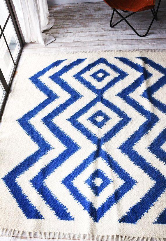 Wool Rug Scandinavian Rug Tribal Wool Nursery Rug Baby Room Rug Scandinavian Bedroom Scandinavian Style White And Blue Rug Baby Room Rugs Nursery Rugs Rugs