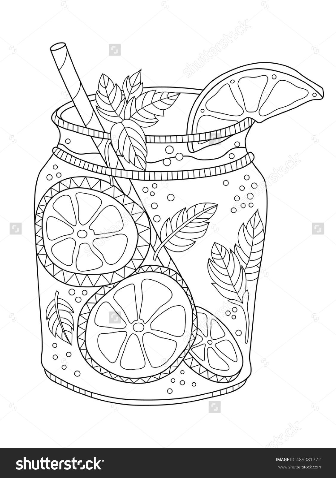 Stock Vector Lemonade In A Jar Coloring Page For Adults In