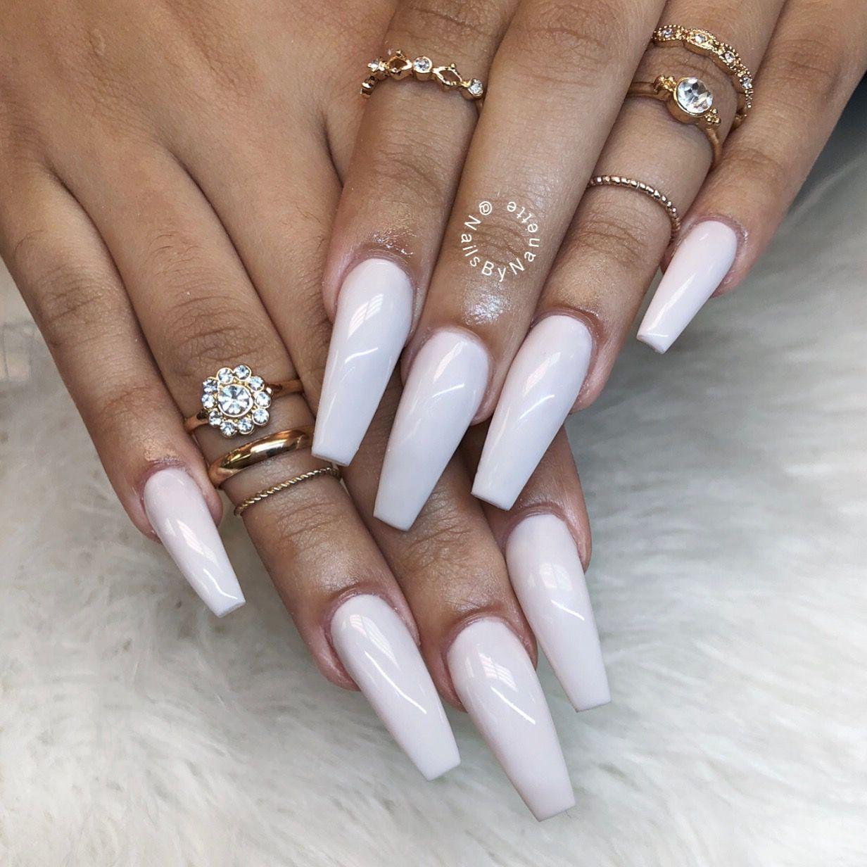 White nails, coffin nails, ballerina nails, nude nails