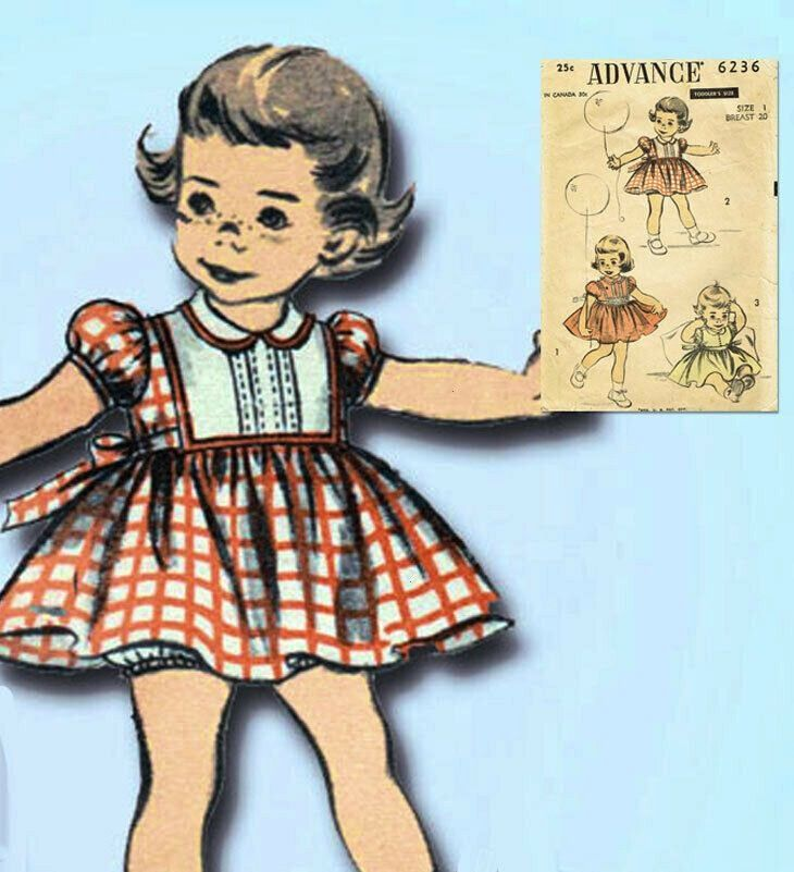 Original Vintage Advance Sewing Pattern 6236 Cute Baby Girls Dress Size 11950s Original Vintage Advance Sewing Pattern 6236 Cute Baby Girls Dress Size 1 1960s Vintage Vog...