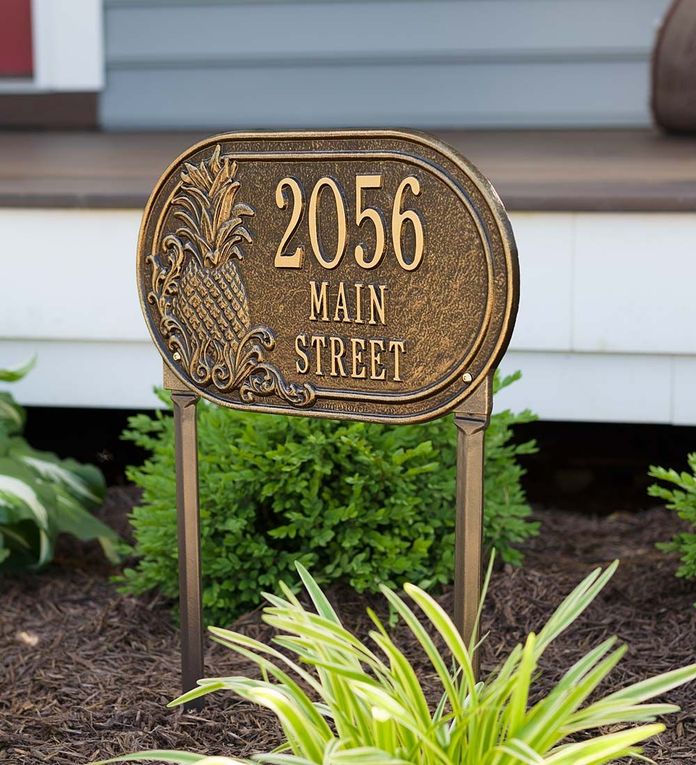 Personalized Pineapple Address Plaque Lawn Stake Address