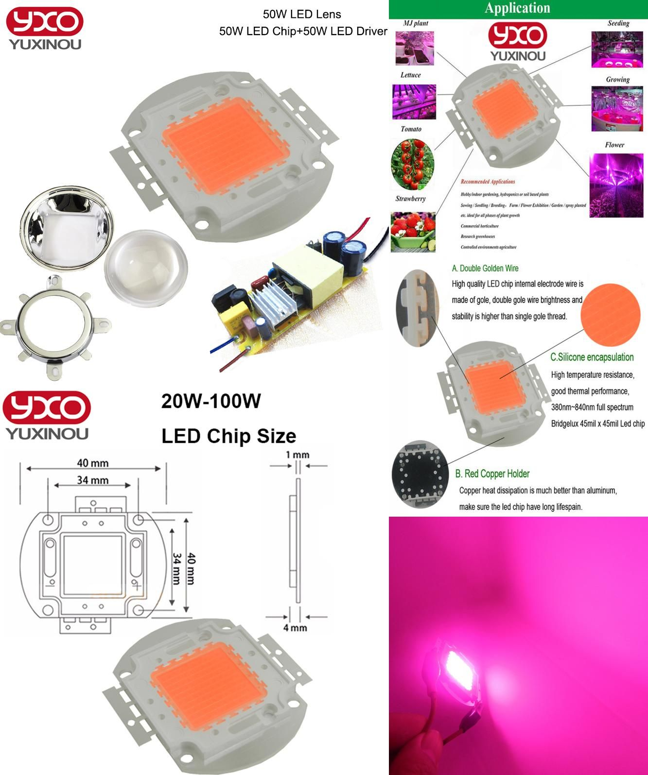 [Visit to Buy] Led grow light kit,DIY COB full spectrum grow light