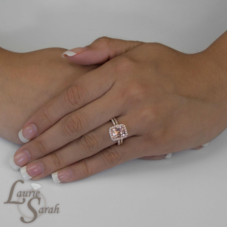 Morganite ring 10x8 cushion pavé halo diamond engagement band rose