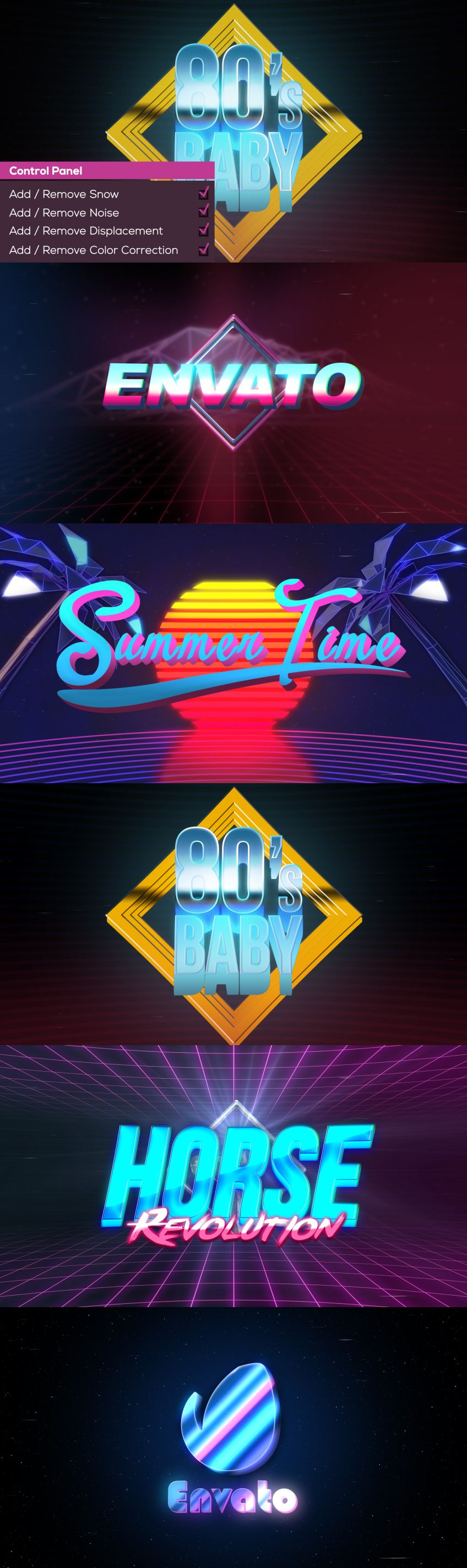 The 80's Baby After Effects template  $33 at Envato  | Adobe After