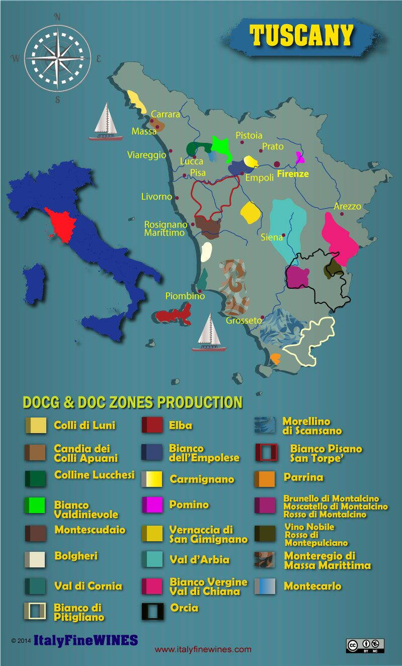 English In Italian: Tuscany Wine Region With Details Of Doc And Docg