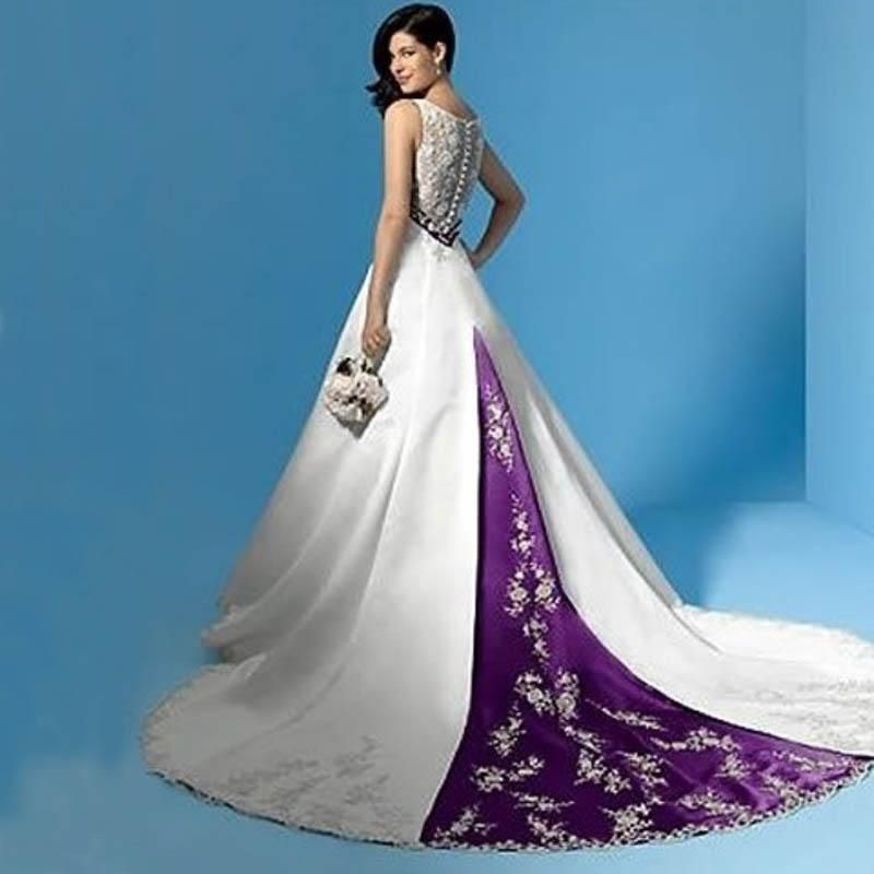 Stunning Purple And White Wedding Dresses Satin Bridal Gowns A Line Empire Deep V Neck Lace