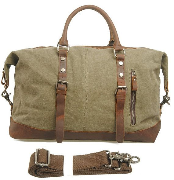 Mens Men Retro handmade canvas leather overnight duffel weekend ...
