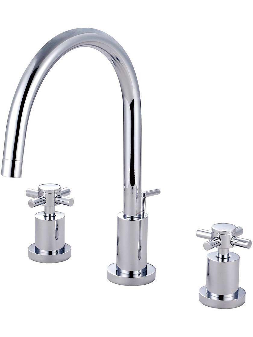 Sarasota Widespread Tall Bathroom Faucet With Bauhaus Cross Handles House Of Antique Hardware 282 Bathroom Faucets Widespread Bathroom Faucet Faucet [ 1120 x 840 Pixel ]
