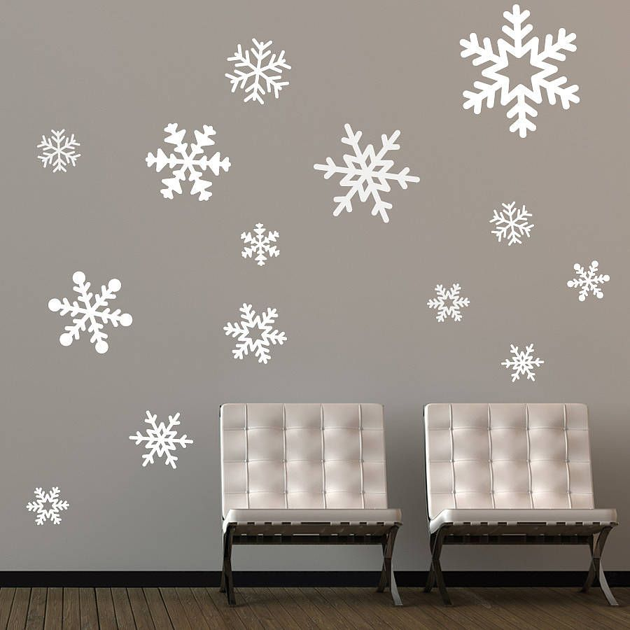 Decorating Ideas. Beautiful White Winter Theme Christmas Wall Decoration  Ideas Featuring Wonderful Snowflake Wall Stickers