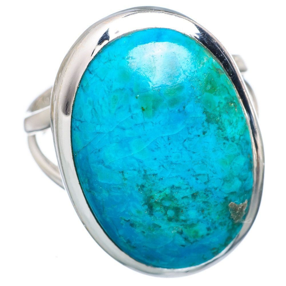 Chrysocolla 925 Sterling Silver Ring Size 7.25 RING705165