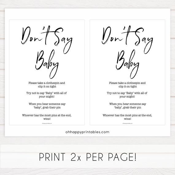 Dont Say Baby Game, Printable Baby Shower Games, Dont Say Baby Game, Clothes Pin Baby Shower Game,