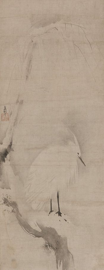 Japanese Art | White heron on a snowy willow | F1977.2 Muromachi