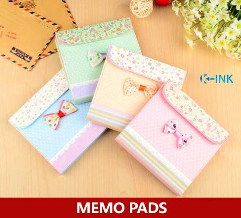 Cute Bow Colorful Memo Pads for Girls , Blank Colored Inner Pages - blank memo