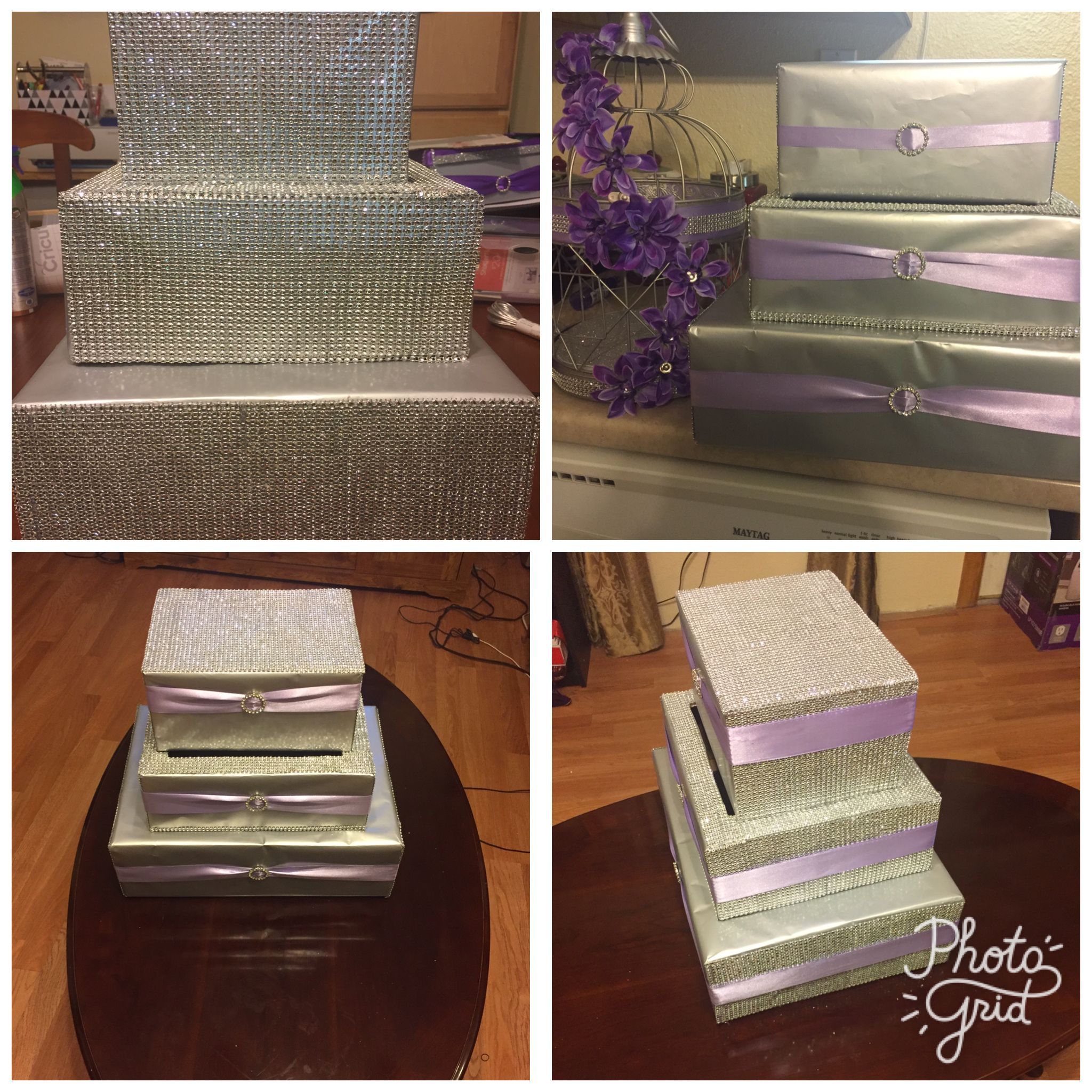 Diy Silver And Lavender Wedding Card Box Silver Wrapping Paper