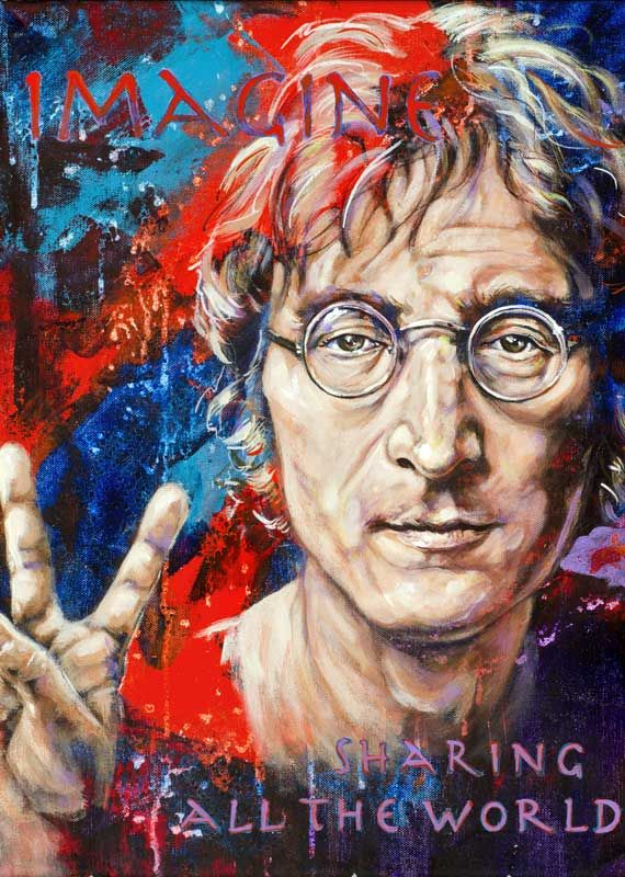 John Lennon Abstract Canvas Print Framed Iconic Music Wall Art Picture