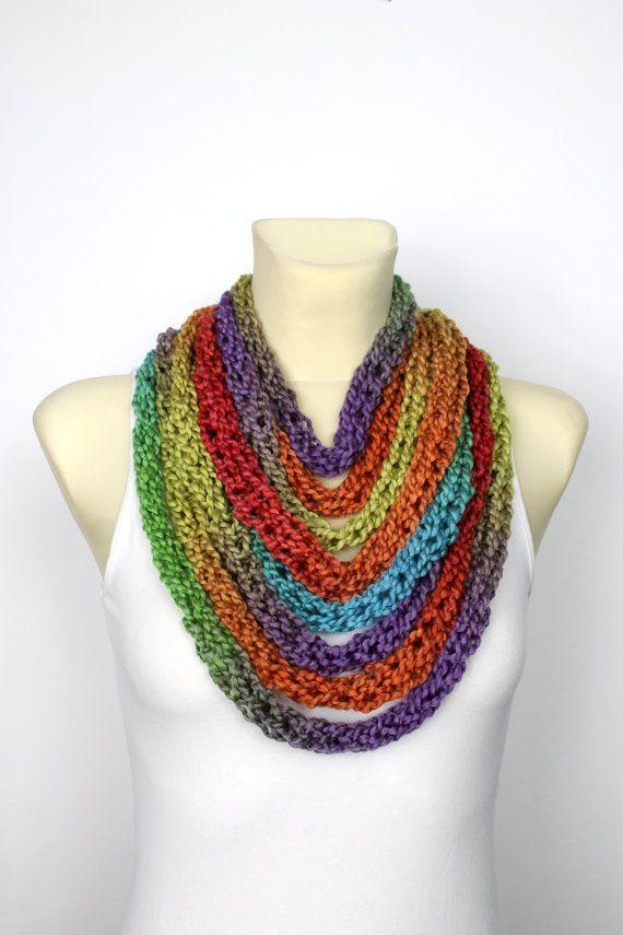 Rainbow Knit Scarf Chunky Infinity Scarf Knit Chain Scarf Bulky Knit ...