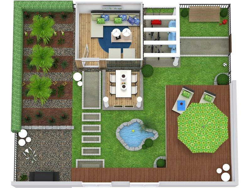 How To Create Outdoor Areas With RoomSketcher | Backyard Design Plans, Budget Landscaping, Garden Design Plans