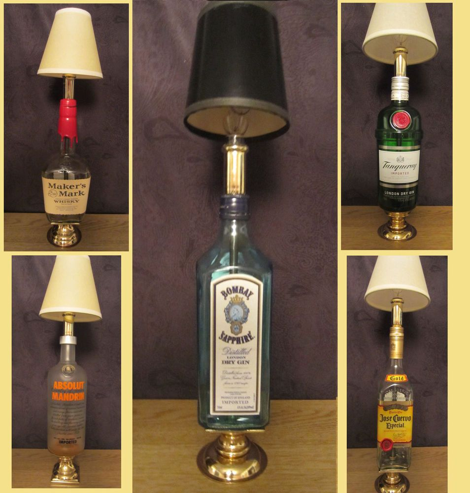 Attractive Liquor Bottle Lamps | Liquor Bottle Brass Stand Lamp Handmade Art Choice  Tequila Gin Vodka .