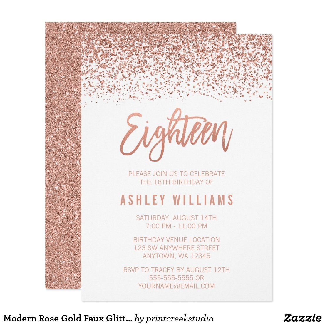 Modern Rose Gold Faux Glitter 18th Birthday Card Glamorous Eighteenth Invitations Designs Are Flat Printed