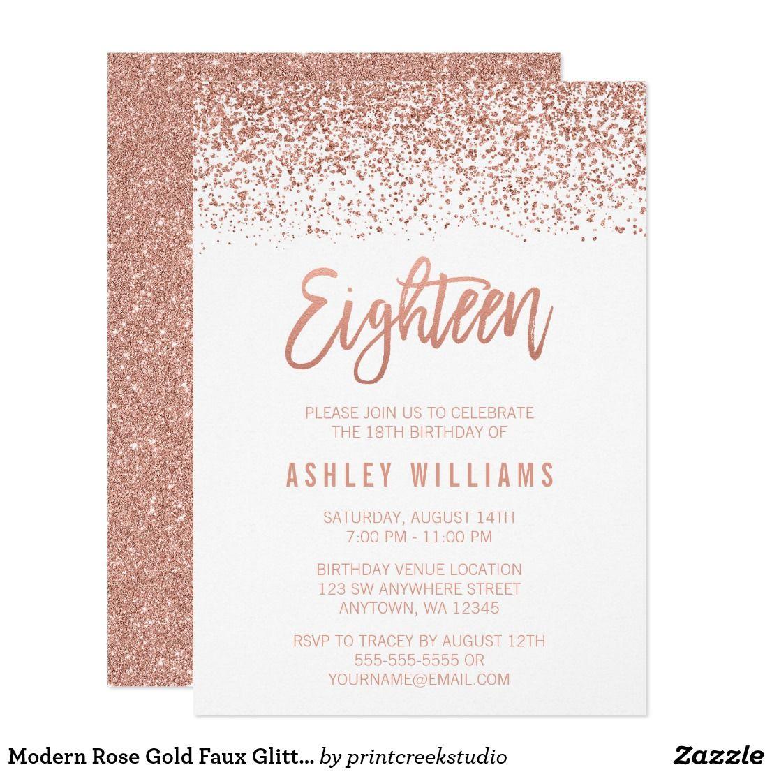 faux glitter 18th birthday invitation