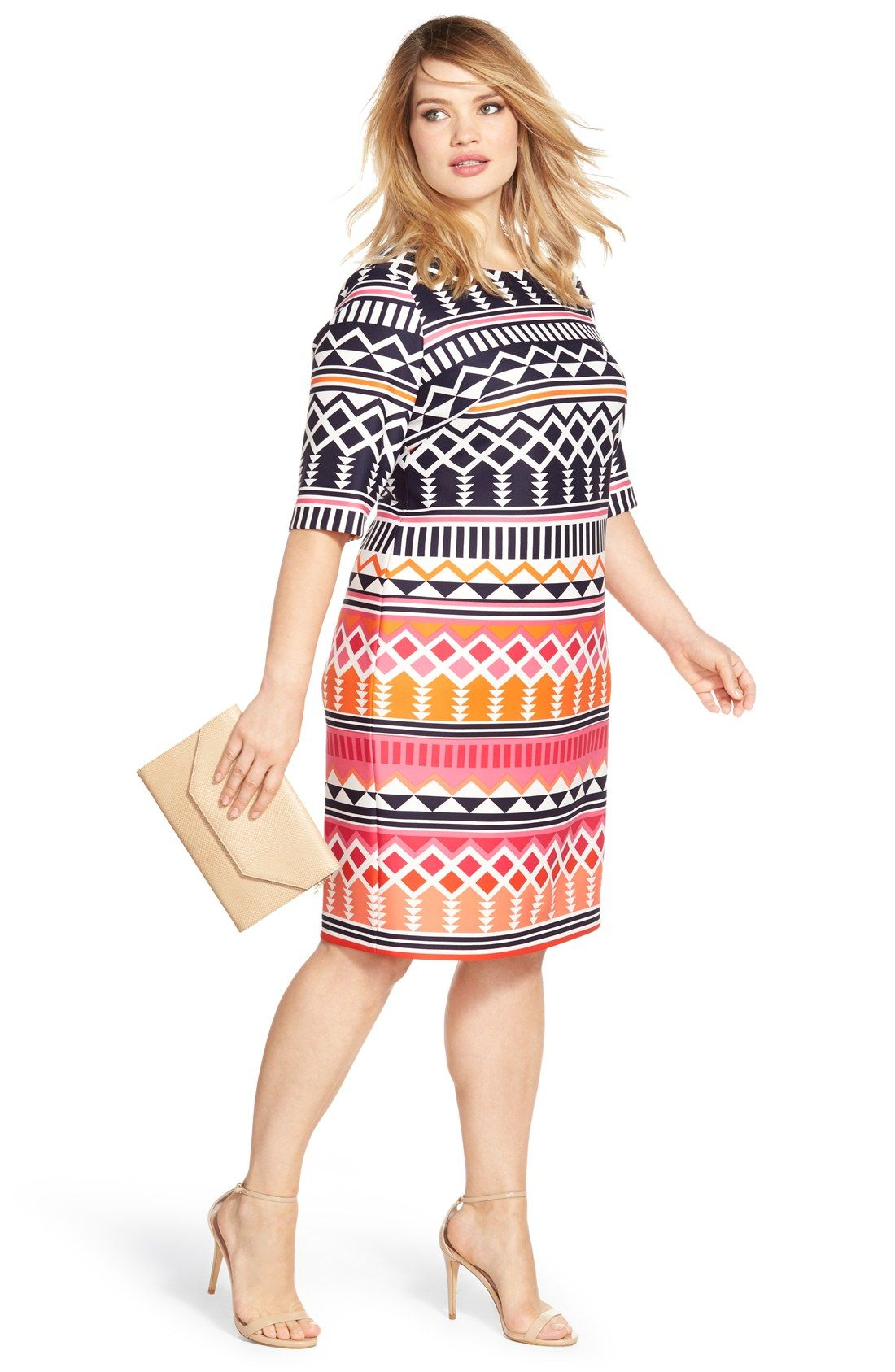 Eliza j geo print elbow length sheath dress plus size dress