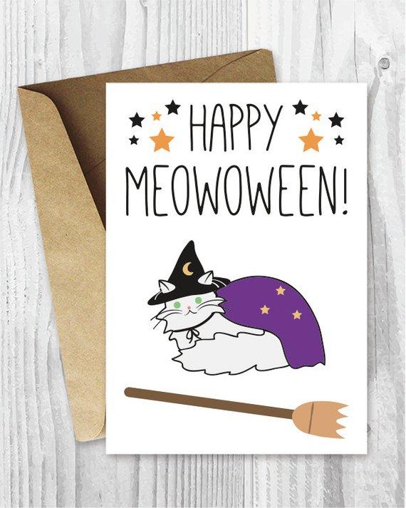 Printable Halloween Cards, Happy Meowoween Halloween Cat Card, Funny
