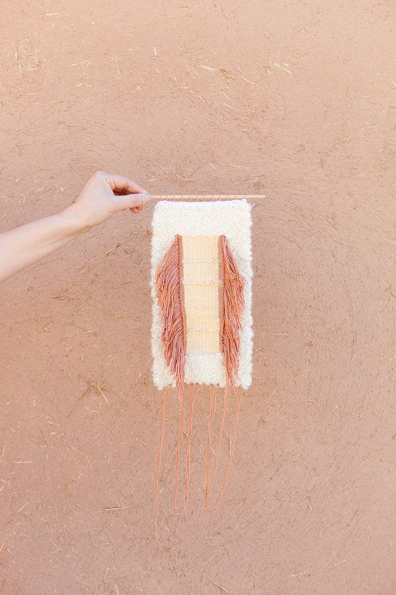 Weaving  wall hanging tapestry | amber, cream, & white  by confettiriotshop