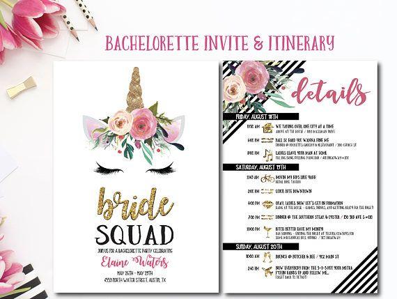 unicorn bachelorette party invitation with itinerary unicorn