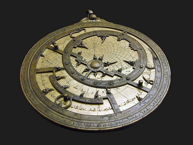 "Astrolabe (2000yr old MiddleAge pagan tech computer mystery/beauty for sky map/astronomy/time/day calc with earth as ctr of univ, typically 6"" brass) (16C cuivre at Musée Islamique du Caire) (2007 by Jean-Pierre Dalbéra or dalbera@flickr 3306523739)"