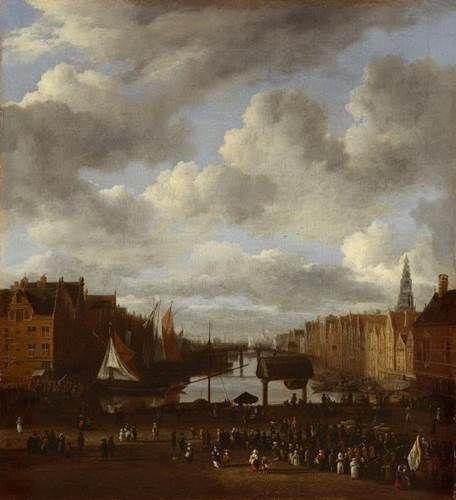 Jacob van Ruisdael - Gezicht op de Dam en het Damrak te Amsterdam