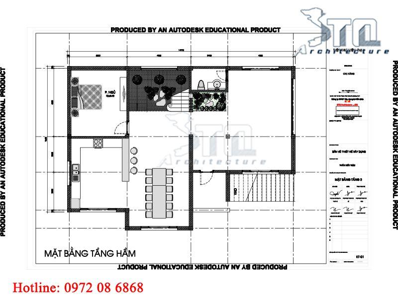Mặt bằng tầng hầm: Bản thiết kế biệt thự 3 tầng mặt tiền 10m