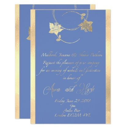Arwa Blue Floral Frame Card  Invitation Ideas