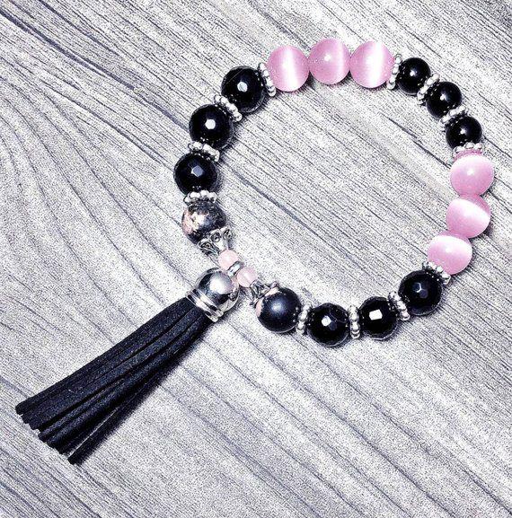Black Suede Tassel Bead Bracelet Black Onyx Pink Cat Eye