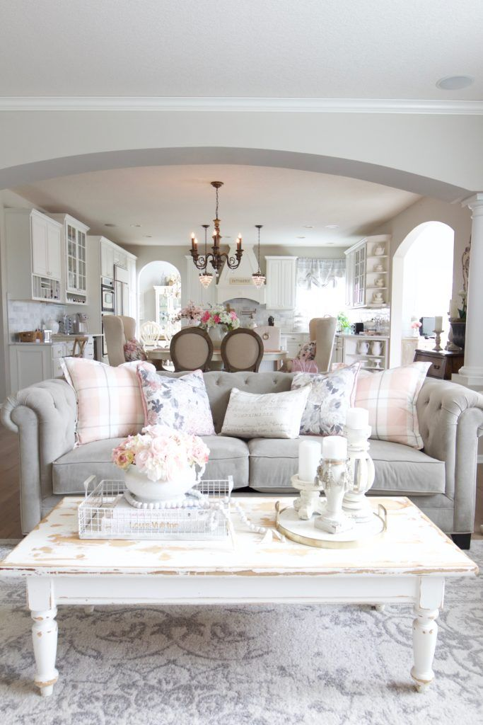 Photo of Spring Family Room Refresh with Blush Pink – Styled With Lace