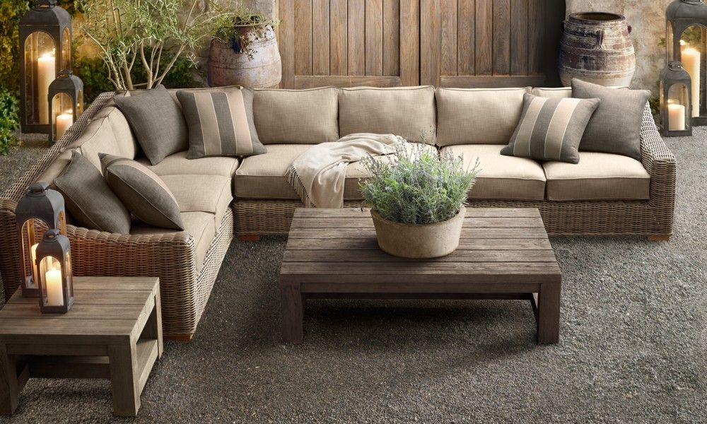 Outdoor Sectional Made Of AWESOME! Love The Lavender Planting In The Stone  Pot, And