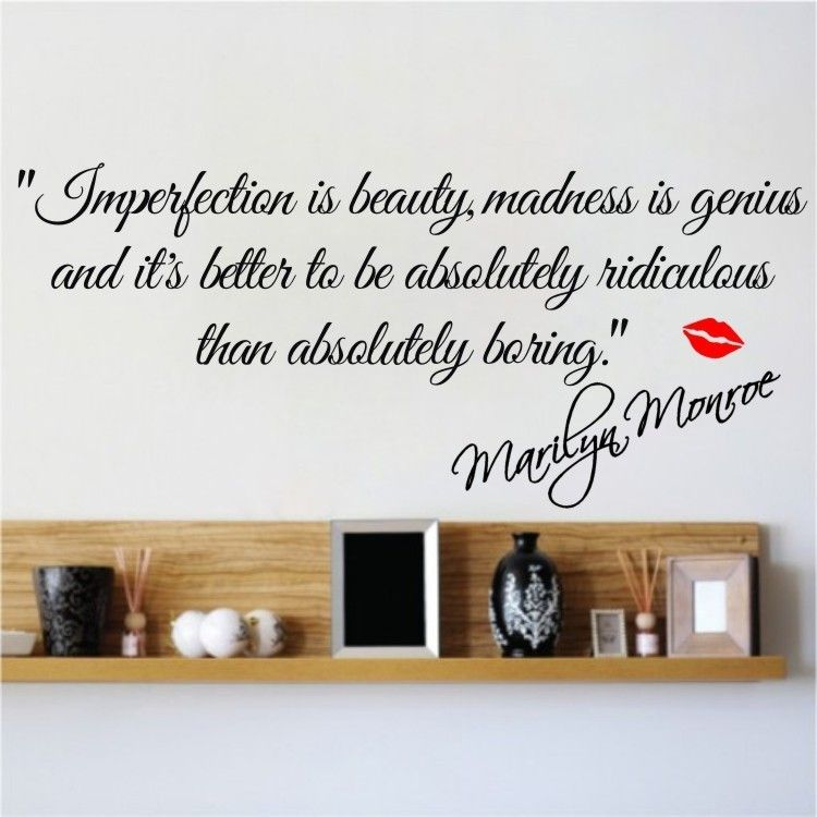 IMPERFECTION IS BEAUTYMARILYN MONROE WALL STICKER QUOTE