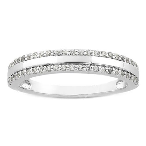 Round Diamond Pav Set Ladies Wedding Ring 025 tcw In 14K White