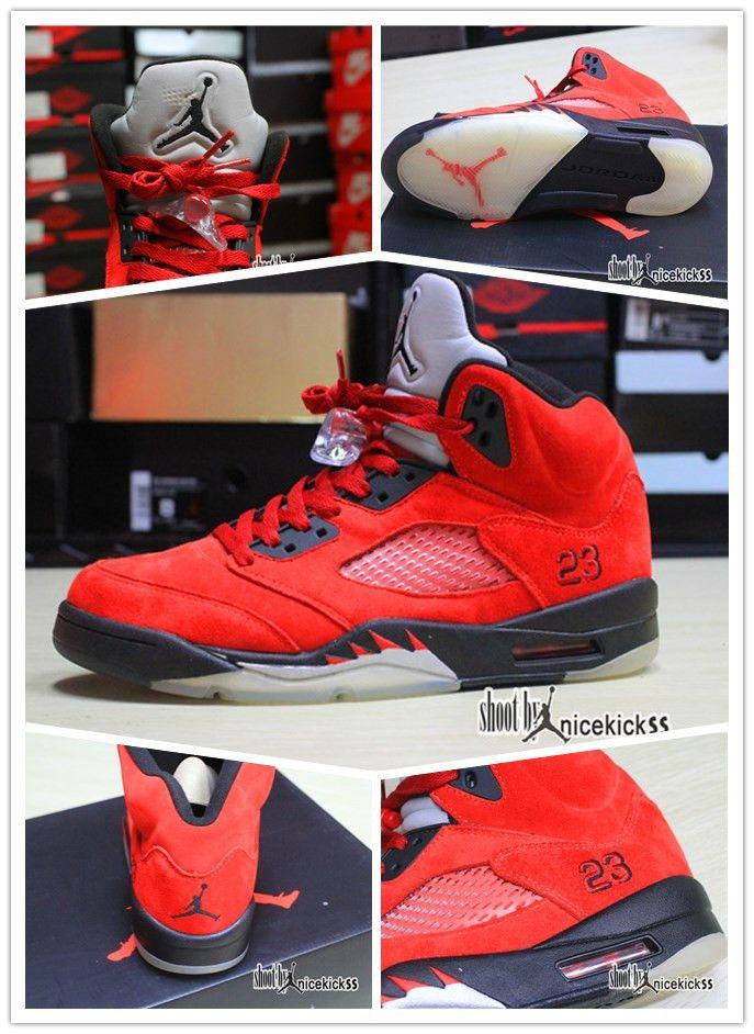 Air Jordan 5 Vêtements En Daim Rouge