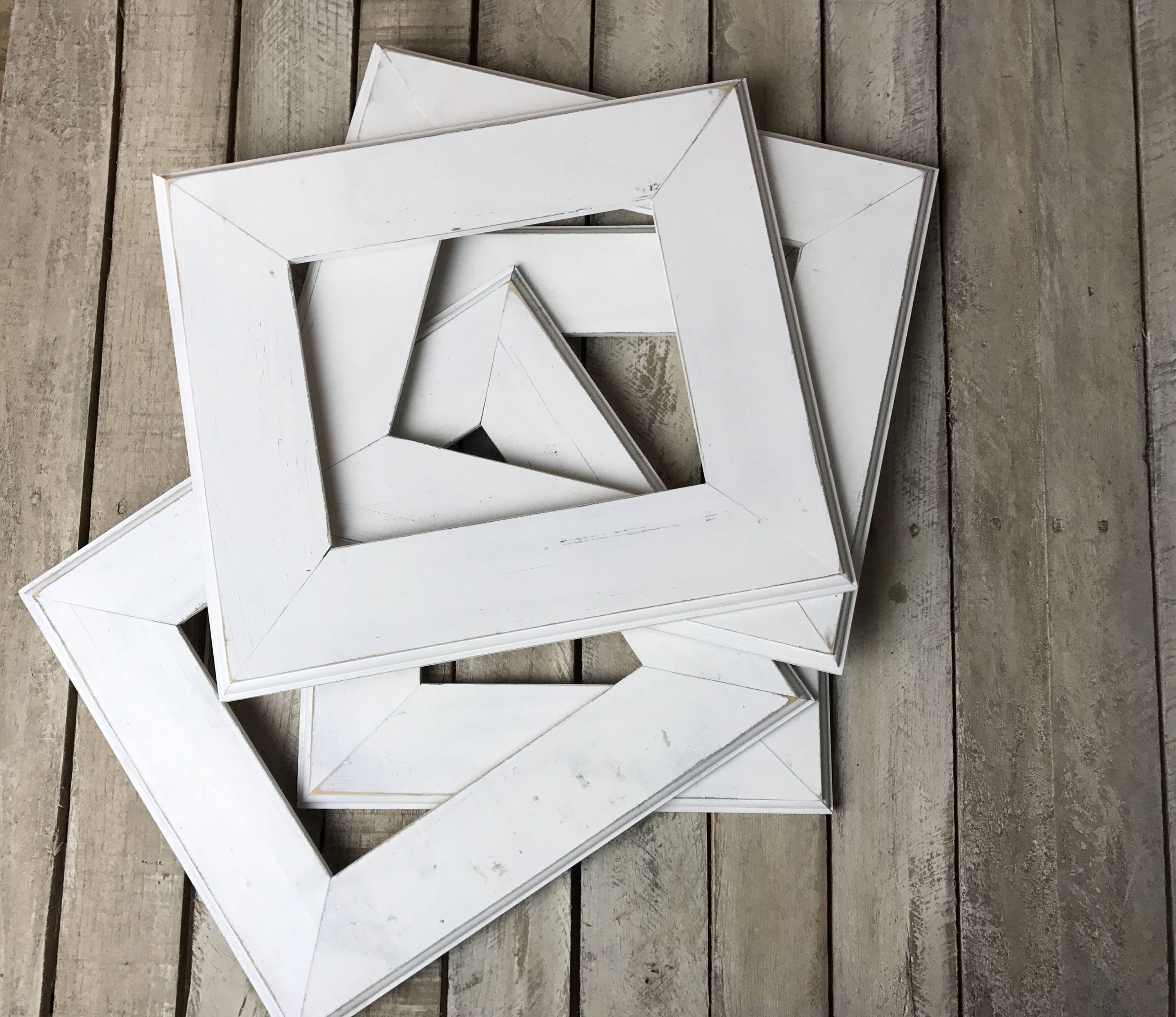 White Picture Frame Set of 4 , Rustic Set, 4- 8x10 Photo Frame ...