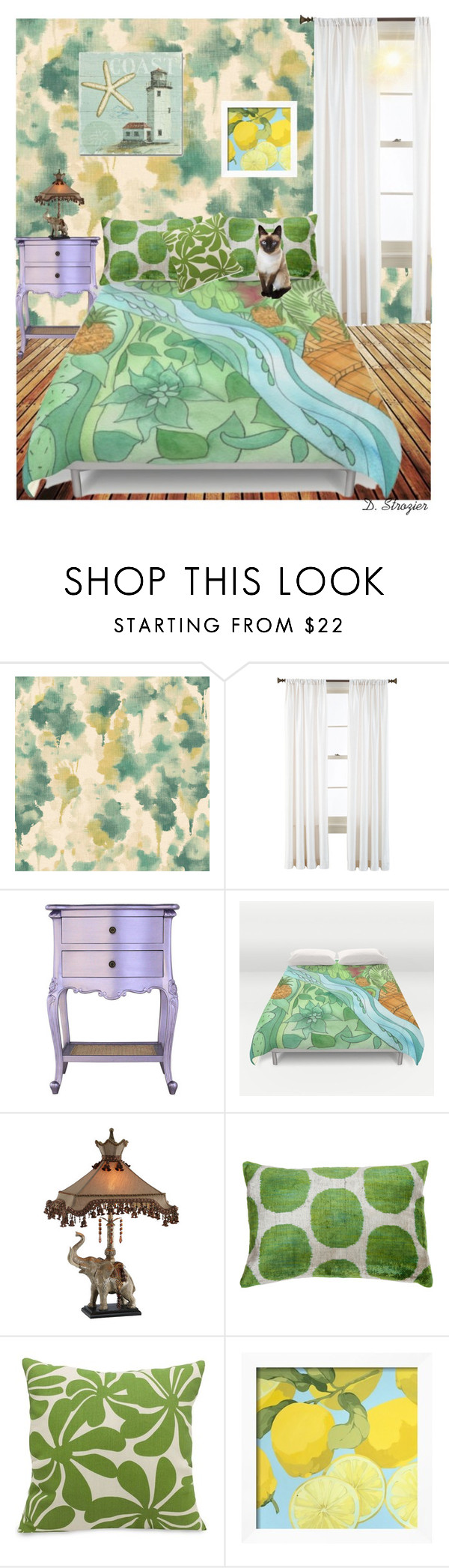 """""""Tropical Bedroom"""" by deborah-strozier ❤ liked on Polyvore featuring interior, interiors, interior design, home, home decor, interior decorating, Ballard Designs, Royal Velvet, Majestic Home Goods and Trademark Fine Art"""