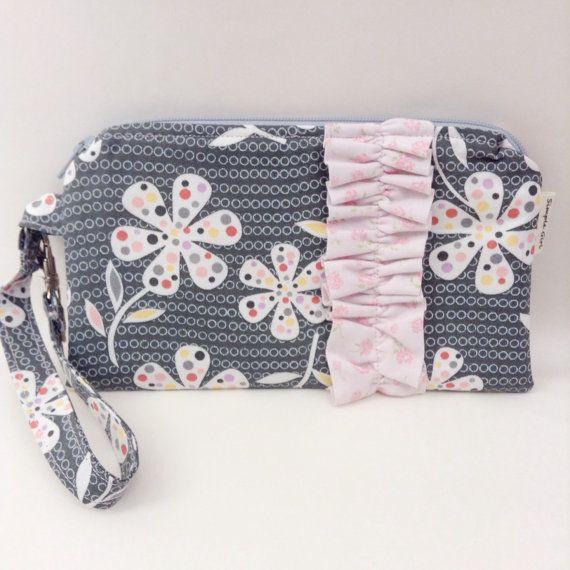 Flat Wristlet Ruffled Gadget Case Gray and Pink by SimpleGirlSews