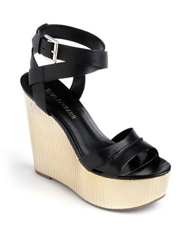 d31b2f62111 Enzo Angiolini Zamaz Leather Platform Wedge Sandals black ...