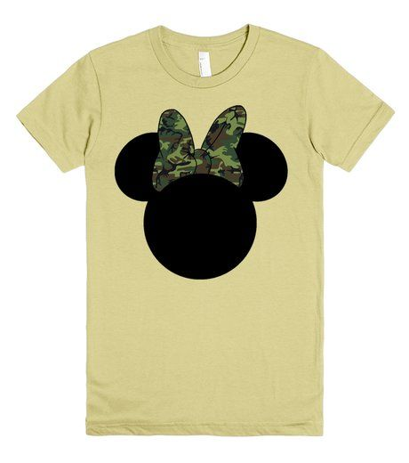 Camo Minnie Mouse  t-shirt by My heart has ears. Available in Women's, Men's and Children's sizes as well! In a variety of colors and styles! Want to add a name or other text? Just email me for your custom design at Angela@myhearthasears.com