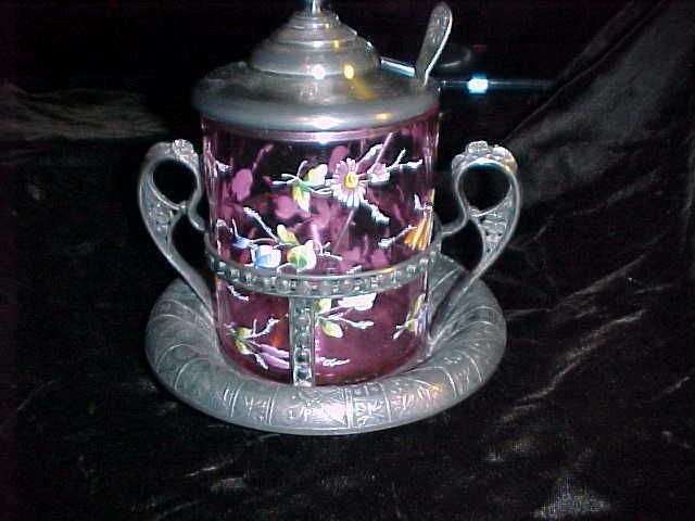 PICKLE CASTOR   MARY  GREGORY STYLE. CRANBERRY  GLASS,.SILVER PLATE FRAME…