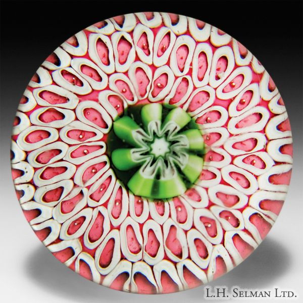 Clichy Extremely Rare, possibly Unique Antique   Red & White Honeycomb Paperweight❤❦❤