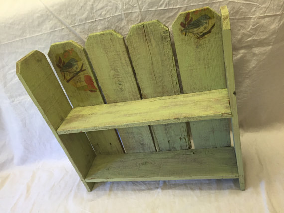 Painted Bookshelf Table Wall Shelf Fence Boards Lime Green Decoupage Salvaged Wood