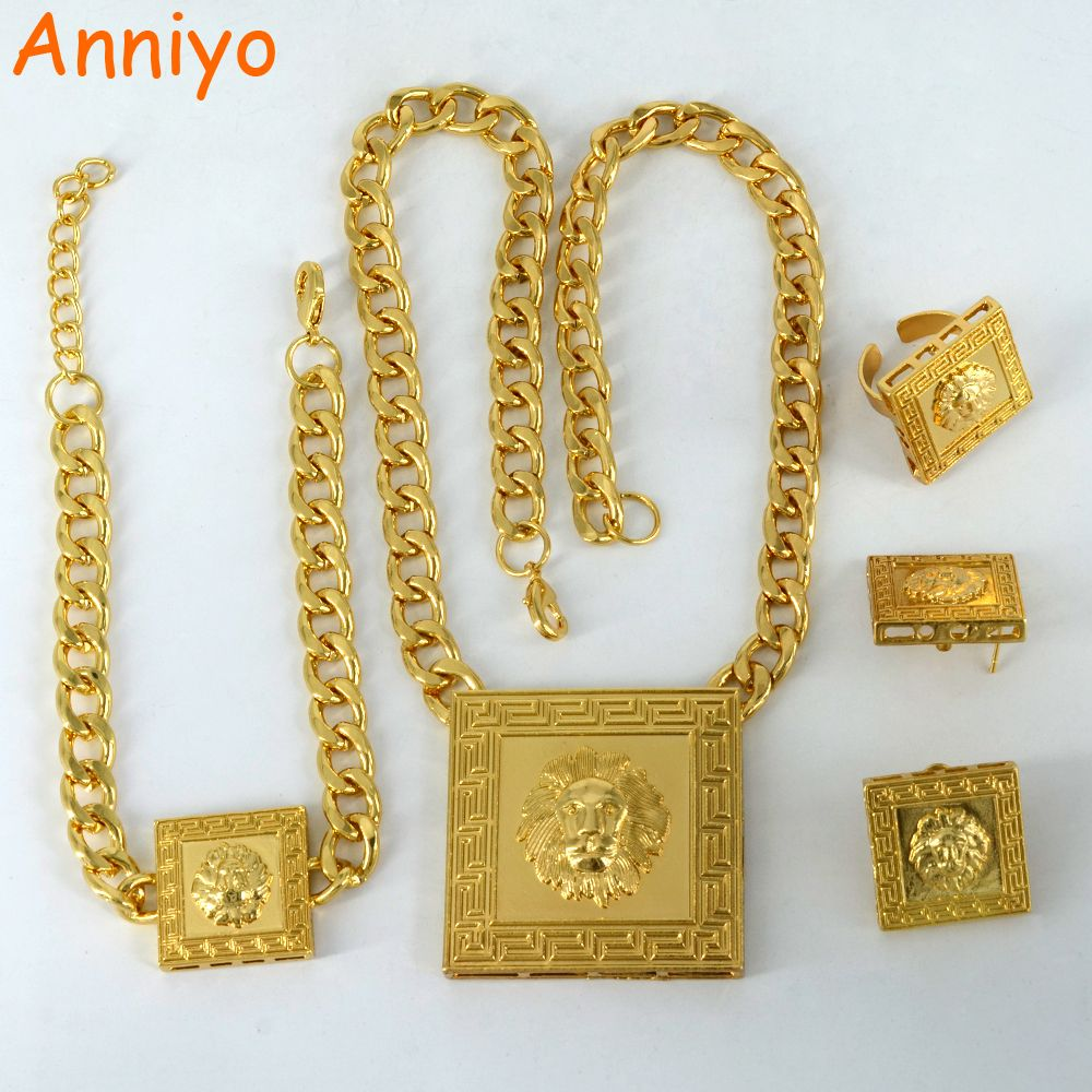 Click to buy ucuc anniyo lion jewelry set gold color africa ethnic