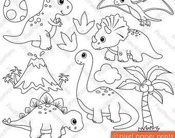 Jungle Friends Digital Stamps Clipart Digitale Stempel Clipart Dinosaurier
